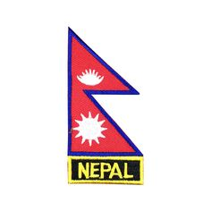 Nepal Flag Patch Embroidered Patch Gold Border Iron On patch Sew on Patch Bag Patch meet you on www.Fleckenworld.com