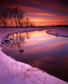 ~~Glacial Park by Ray Mathis ~ Sunset on Nippersink Creek in winter at Glacial Park, McHenry County, Illinois~~