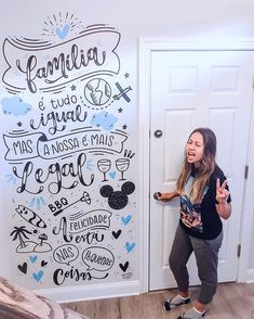 Image may contain: 1 person interior Mural Art, Wall Murals, Different Lettering Styles, Chalk Lettering, Diy Wall Painting, Statement Wall, Wall Drawing, Posca, Chalkboard Art