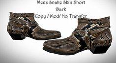 6c56c3b45 Second Life Marketplace - Mens Snake Skin Short Dark Snakeskin Cowboy  Boots, Snake Patterns,