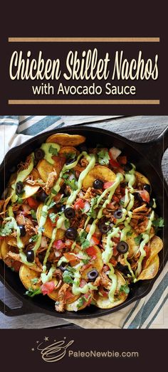 Easy paleo nachos – so good! And with that special avocado sauce, you'll never miss the cheese. Dig into this one!