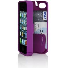 Purple Case for iPhone 4/4S with built-in storage space for credit cards/ID/money by EYN (Everything You Need) | aSavings