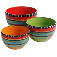 Gibson Elite Pueblo Springs 3 Piece Bowl Set, Bright Hand Painted Designs Beautiful handpainted designs bring style to any table Includes three bowls for everything from prep to serving Durable stoneware Dishwasher and microwave safe Home Depot, Gates, Outdoor Dining Set, Outdoor Entertaining, Mixing Bowls, Paint Designs, Fine China, Bowl Set, Bedding Shop