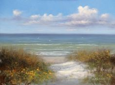 "Beach Path by Martin Figlinski Oil ~ 5"" x 7"""