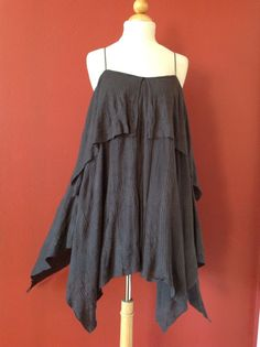 FP BEACH FREE PEOPLE Gray Ribbed Asymmetrical Handkerchief Tunic Top Size S #FreePeople #Tunic #Casual