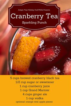 Use Adagio's cranberry tea this Thanksgiving to create a brew that packs a punch! Serves 12, and can be adjusted for more or less guests.