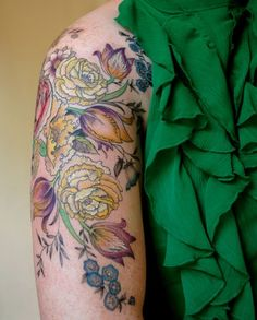 Victorian style floral tattoo