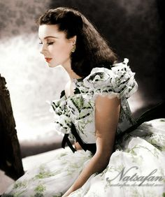 Viven Leigh as Scarlett O'Hara from the movie Gone With the Wind black and white photo coloured by me B&W photo from vivien-leigh.com Hope you all like it