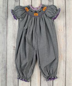 Another great find on #zulily! Stellybelly Black Gingham Jack-o'-Lantern Smocked Playsuit - Infant & Toddler by Stellybelly #zulilyfinds
