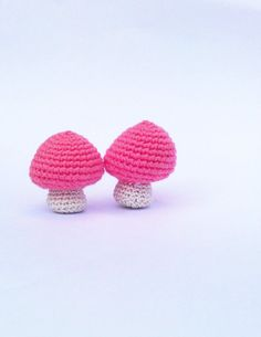 2 Pink Crochet Mushroom, Cute Two Mushroom for Decoration, Supply for Garland, Ready to Ship, $4.00