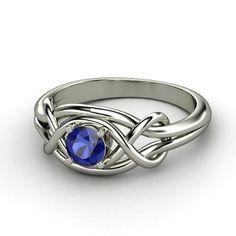 Round Blue Sapphire 14K White Gold Ring    Infinity Knot Ring   Gemvara