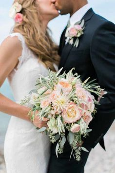 BLOOM Michigan - blush bouquet or dahlias, blushing bride protea, roses, seeded eucalyptus, and olive