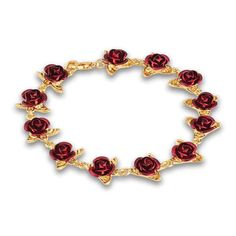 This Dozen Roses Gold Bracelet is a gift your sweetheart will treasure for years to come! Makes a perfect valentine, anniversary or birthday gift! 12 Roses, Dozen Red Roses, Jewelry Shop, Jewelry Accessories, Lush Beauty, Planting Roses, Danbury Mint, Crystal Bracelets, Jewelry Bracelets
