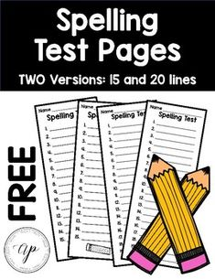 Spelling Test Sheet This comes in two versions. 15 and 20 Lines! 2nd Grade Spelling, 2nd Grade Ela, Spelling Test, Spelling Practice, 4th Grade Writing, Spelling Activities, 2nd Grade Classroom, First Grade Reading, Spelling Words
