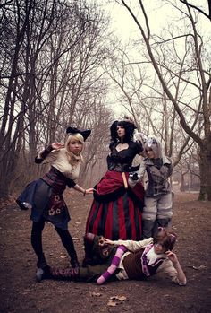 A steampunk interpretation of Alice, Cheshire cat, Queen of Hearts and the White rabbit