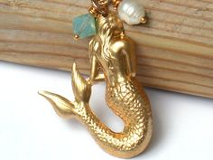 The Little Mermaid In A Gold Filled 14K Chain Necklace