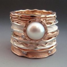 Round Stacking Rings Sterling silver, 14k rose gold, diamonds and pearl - Ann Marie Cianciolo