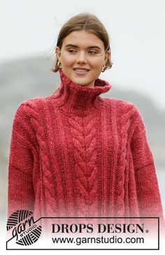 Winter Cardinal Drops - - Free Knitting Patterns By Drops * winter cardinal drops - - kostenlose strickmuster von drops * winter cardinal drops - - modèles de tricot gratuits par gouttes Knitted Cape Pattern, Knit Cardigan Pattern, Jumper Patterns, Cable Knit Jumper, Drops Design, Cable Knitting, Vogue Knitting, Knitting Yarn, Jumpers For Women