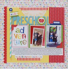 Preschool - Scrapbook.com - Made with the bright colors of Bella Blvd's Tiny Tots Collection.