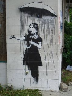 Banksy is an England-based graffiti artist. His satirical street art and subversive epigrams combine irreverent dark humor with graffiti done in a distinctive 3d Street Art, Street Art Utopia, Street Art Graffiti, Graffiti Drawing, Street Artists, Rain Street, Graffiti Girl, Urban Graffiti, Graffiti Painting