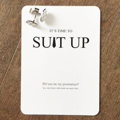 We designed these #suitup groomsmen proposal cards for a special lady & her fiancé -- we hope their groomsmen loved them as much as we did :) #itstimetosuitup #groomsman #groom #gentlemen #groominspiration