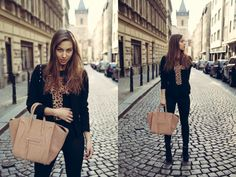 Prague Center, wearing leopard cross top, high heels and beige Céline handbag