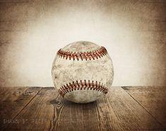 Vintage Baseball unique sur bois Photo imprimable, idées, décoration murale, sticker, chambre d'enfant, pépinière idées, idées cadeaux, de décoration