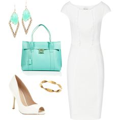 White shift dress and turquoise accessories by allesanleigh, via Polyvore