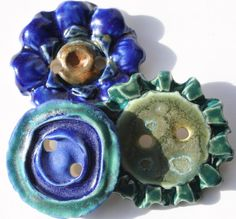 Artisan Ceramic Button Set of 3 by LisaPetersArt on Etsy