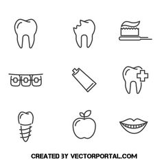 Dentist icons - Free vector image in AI and EPS format. Free Vector Images, Vector Free, Tooth Icon, Dentist Logo, Oral Hygiene, Icon Pack, Dental Care, Vector Icons, Icon Set