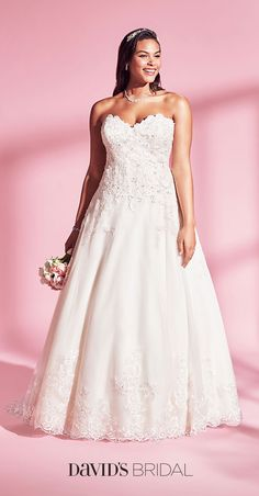 Your size, your style, your budget. At David's Bridal, we're excited to bring you beautiful gowns that check every box.  Sizes ranging from 0-30W.