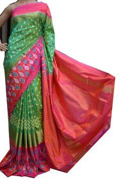 ikat parrot color saree copy