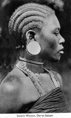 Africa   Swahili woman. Dar-es-Salaam.   Vintage postcard; photographer A.C. Gomes & Son.