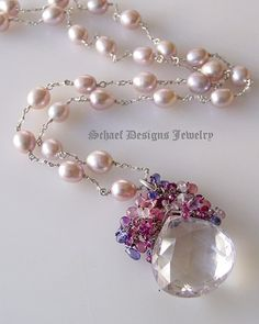 Artisan handcrafted 50 carat pink amethyst faceted tear drops briolettes crowned with briolettes and rondelles of spinel, rose quartz, amethysts, rhodolite garnets and tanzanite cubic zircons gemstone pendant on hand linked pink pearl & stering silver necklace | upscale online gemstone & pearl jewelry gallery | Schaef Designs upscale artisan handcrafted gemstone & pearl jewelry | San Diego, CA