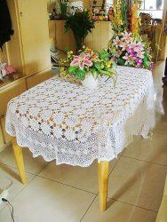 Vintage Hand crochet blooming flowers Large table cloth  		  Email a friend	View larger image  	  Vintage Hand crochet blooming flowers Large table cloth