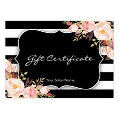 Floral Salon Or Boutique Gift Certificate Template Large Business Card