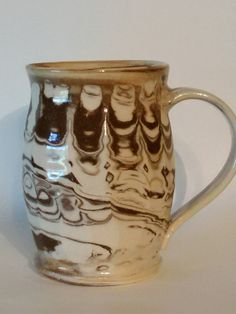 Coffee mug   agate ware faceted pottery marbled by AngelaNGraham