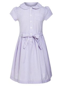 Girls Traditional Gingham School Dress (3-13yrs)         ~~~  This gingham school dress is perfect for the warmer months. In spring lilac colour featuring button detail and adjustable waist.