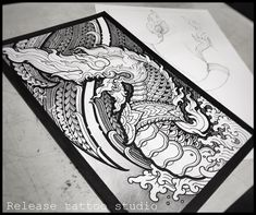 Dragon Tattoos For Men, Tattoos For Guys, Thailand Art, Buddha Tattoos, Thai Tattoo, Thai Art, Airbrush Art, Tattoo Parlors, Ink Illustrations