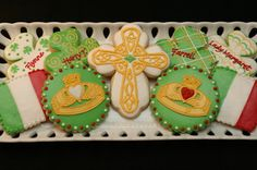 Irish gallery - Cookies With Character - claddagh ring, shamrock, Celtic cross, flag of Ireland (red should be orange)