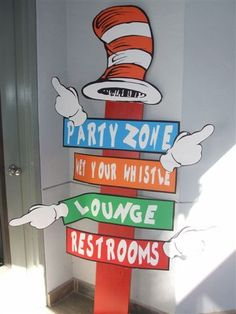 Tracy M's Birthday / The Cat in the Hat - Dr. Seuss at Catch My Party Dr Seuss Party Ideas, Dr Seuss Birthday Party, First Birthday Parties, Birthday Party Themes, Birthday Ideas, Dr. Seuss, Twin First Birthday, Baby Birthday, Cat In The Hat Party