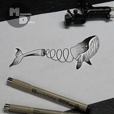Ink Drawing: Whale slinky