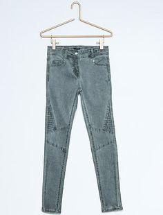 Pantalon skinny style biker délavé stretch                              gris Fille  - Kiabi