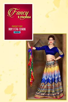 Royal Blue Silk #FancyLehenga This resplendent #designerlehenga is the perfect party wear attire. Exquisitely embroidered blouse, with designer printed #lehenga this is the perfect for the traditional Indian out look. #womanwear #lahengacollection #stylishwear #ethnicwear #partywear #onlinelehenga #trending #designerlehenga #lehenga #weddingwear