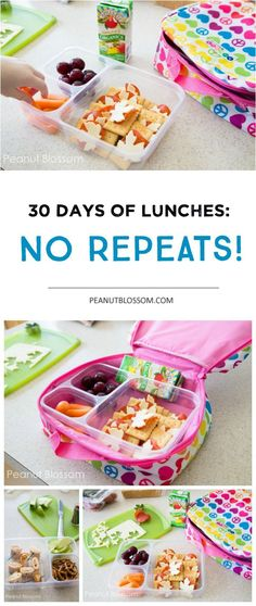 30 Days of school lunches: no repeats! Easy tricks for getting those lunch boxes filled fast, even on busy mornings. Kid friendly, mom approved food ideas that make everyone happy. Menu Infantil, Cold Lunch Ideas For Kids, Sack Lunch Ideas, Lunch Ideas For School, Meal Plan For Toddlers, Kids Meal Plan, Bento Box Lunch For Kids, Easy Lunch Boxes, School Lunch Box