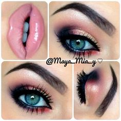 Fabulous Pink Lipstick Makeup Idea - love the rose gold makeup