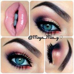 Fabulous Pink Lipstick Makeup Idea - love the rose gold makeup