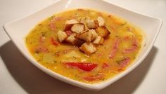 Pea soup with smoked sausage and peppers