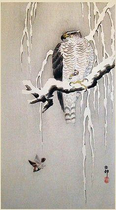 Ohara Koson (1877-1945): Goshawk and Sparrow in Snow
