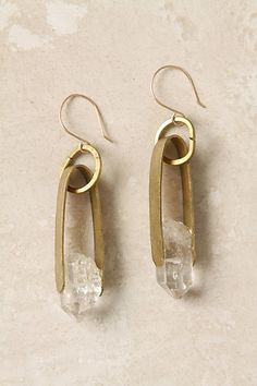 cinched quartz drop earrings - anthropologie